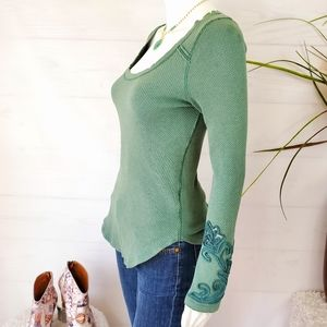 Free People pullover embellished sleeve thermal